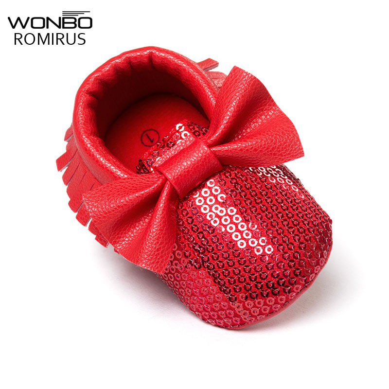 2019 New Fashion Red Sequins Baby Bow Moccasins Bling Bling Pu Leather Glitter Baby Girls Dress Shoes Toddler Soft Sole Moccs