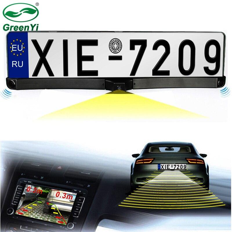 GreenYi Night Vision European License Plate Frame Video Parking Sensor Reverse Backup Radar With Car Rear