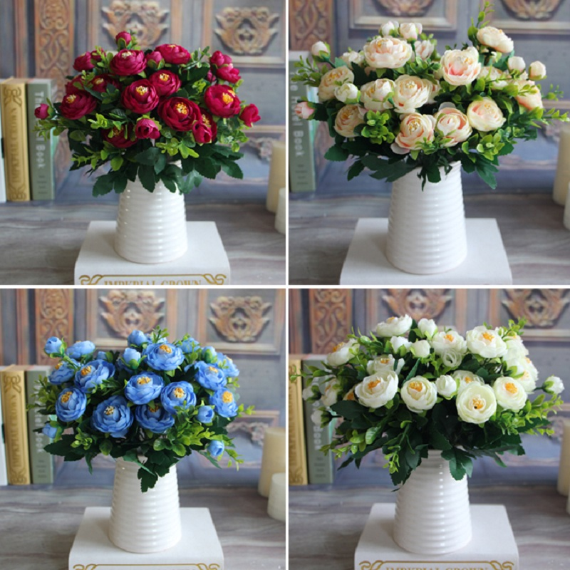 New Multi Color Realistic 6 Branches Spring Artificial Fake Peony Flower Arrangement Home Table Room Hydrangea Decor 4 Colors In Dried Flowers