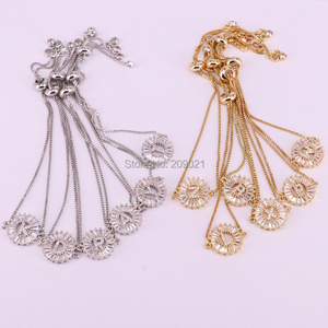 Image 5 - 12Pcs Copper Pave Setting CZ Crystal Letter Bracelets Round Shape Jewelry Adjustable Bracelet For Women