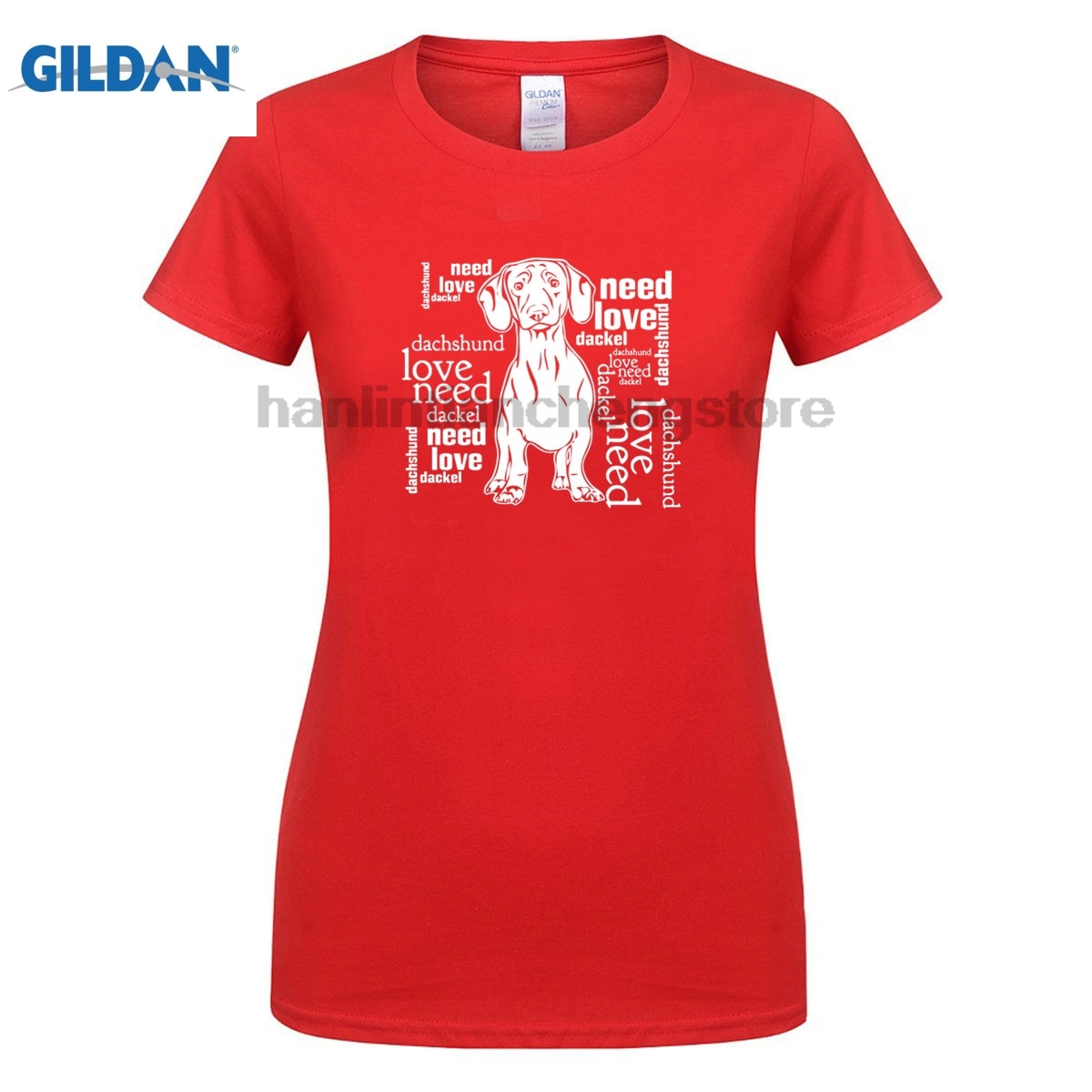 GILDAN 2018 Hot Sale New womens T Shirt New Fashion Funny O Neck T Shirt Hund Hunde Dack ...