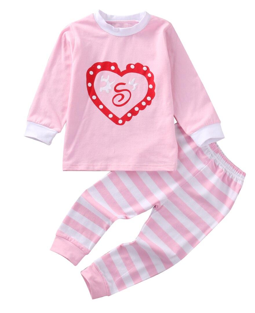 Pudcoco Children Family Christmas Pajamas Kids Boys Girls Cotton T shirt Tops Stripe Pants Leggings Outfits