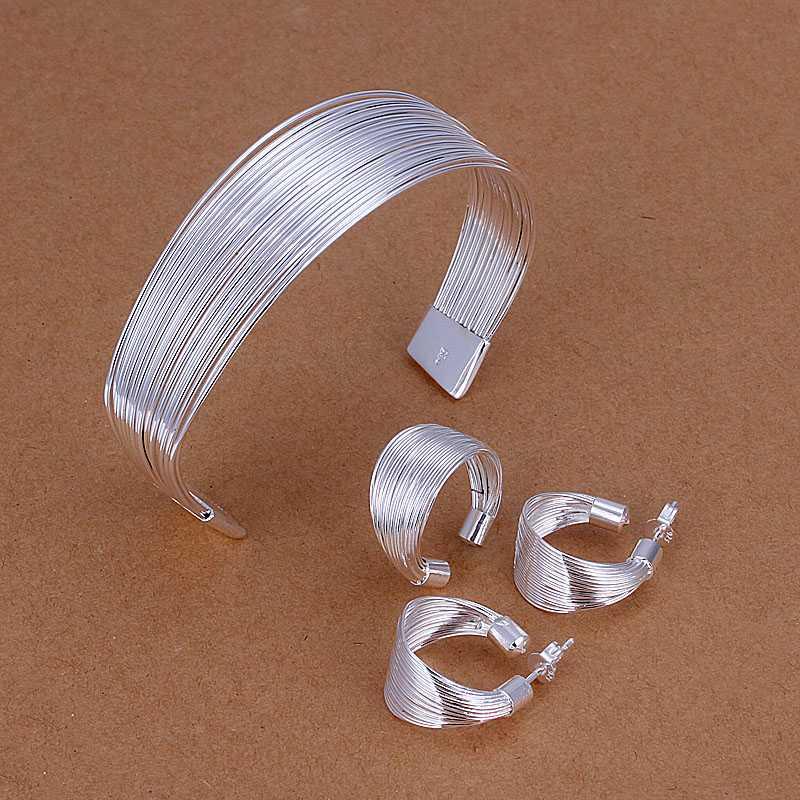 Hochzeits- & Verlobungs-schmuck Fabrik Preis Top Qualität Silber überzogene Nette Schmuck-sets Halskette Armband Armreif Ohrring Ring Heißer Verkauf Smts312