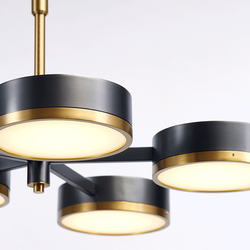 New arrival Modern 5 arm Pendant Light Creative black brass hanging lamp Lifting rod adjustable acylic lampshade home decoration in Pendant Lights from Lights Lighting