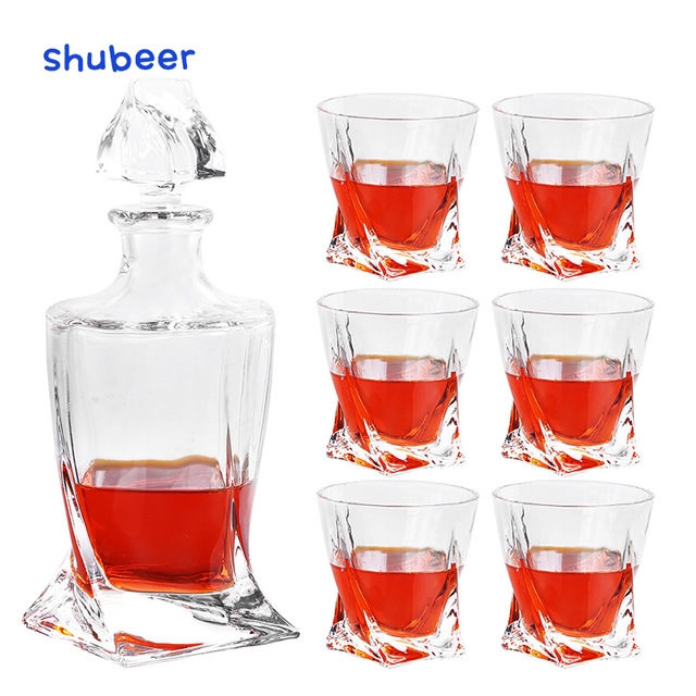 Christmas Gift 7 Piece Whiskey Decanter Set with 6 Twist ...