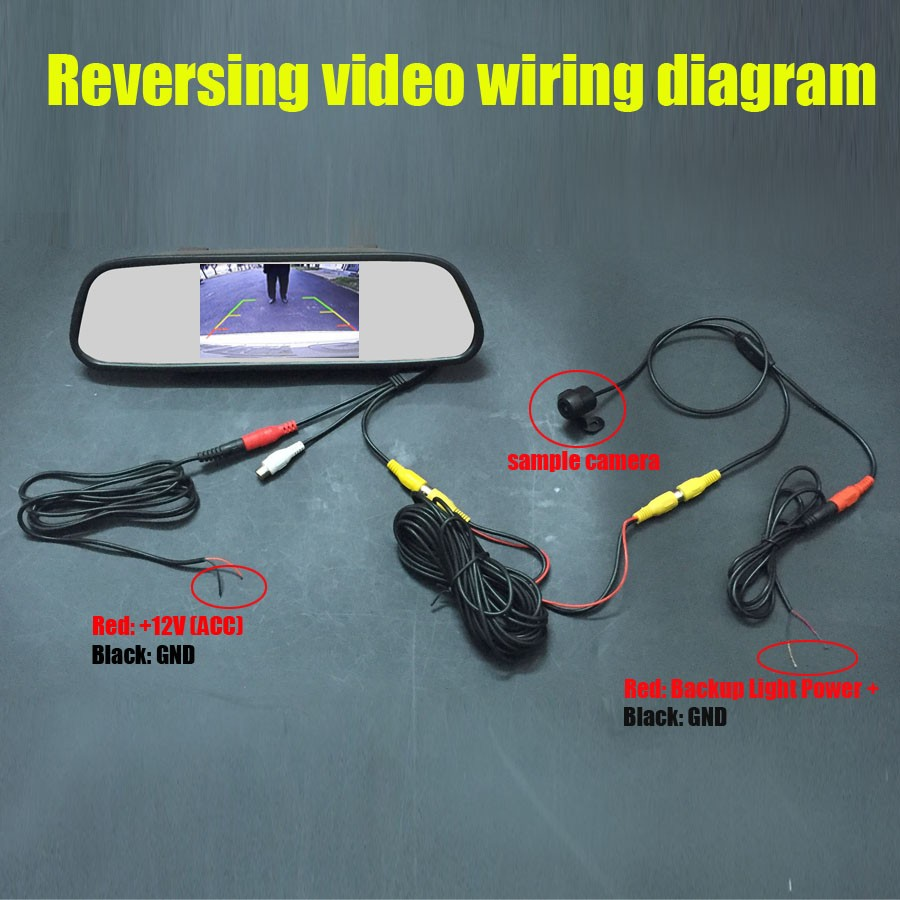 Tft Reversing Camera Wiring Diagram Car 5 Lcd Auto Mirror Monitor Night Vision Rear Ip