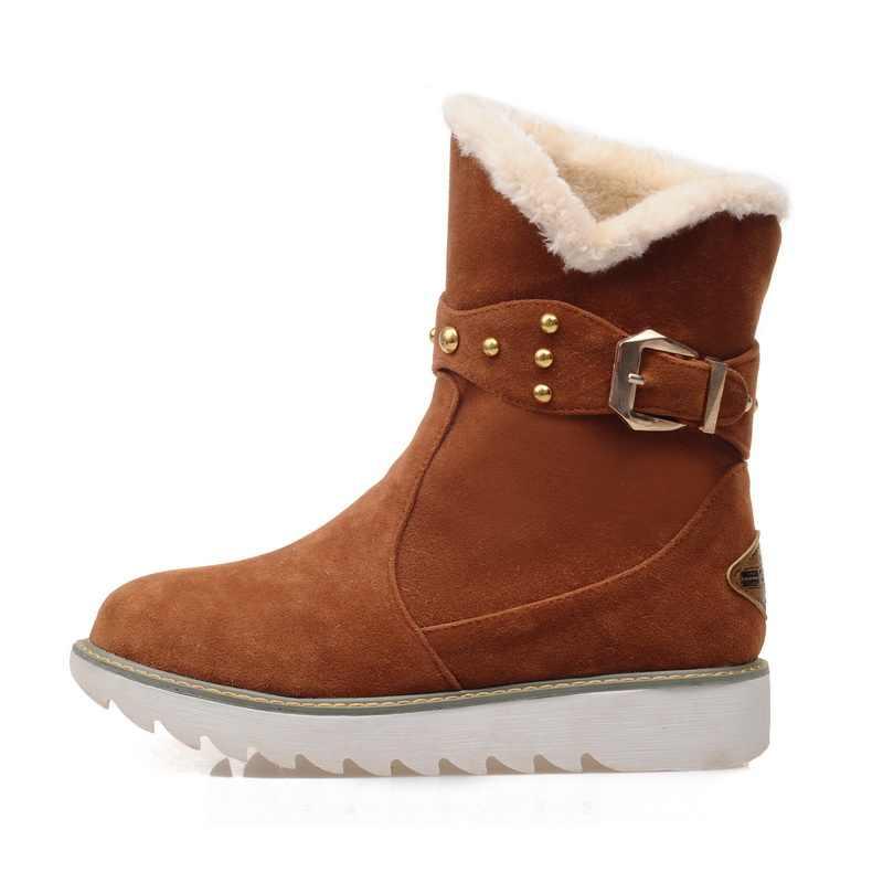 BONJOMARISA Kış Büyük Boy 33-43 Ayak Bileği Kar Patik Kadın Sıcak Peluş Düz platform ayakkabılar Kadın Kaymaz Kama kadın Ayakkabı
