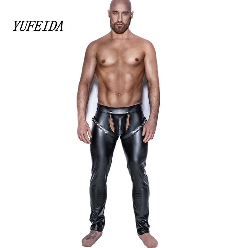 Sexy Men Skinny Faux PU Leather Pants Shiny Black Trousers Nightclub Stage Performance Singers Dancer Open Front Leather Pants