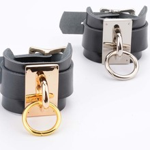Double Band Leather and Metal Handcuffs