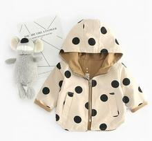 Girls Jacket and Coat Spring Hooded Windbreaker Jacket Polka Dot 2 Sides Wear Toddler Kids Jacket Outerwear Clothes For 9M-5T