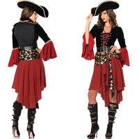 Traje do pirata Cruel Mares Capitão pirata cosplay Fantasia de Halloween para as mulheres do vestido Extravagante