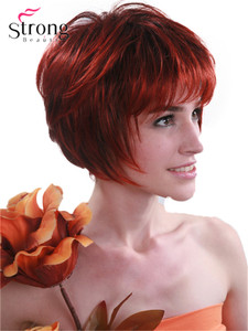 Image 3 - StrongBeauty Red mix Black Short Soft Layered Shag Full Synthetic Wig for Women