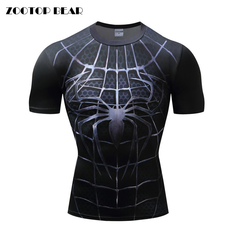 Spiderman 3D Print t shirts Men Compression fitness shirts Superhero Tops Marvel costume Short Sleeve Fitness Crossfit T-shirts