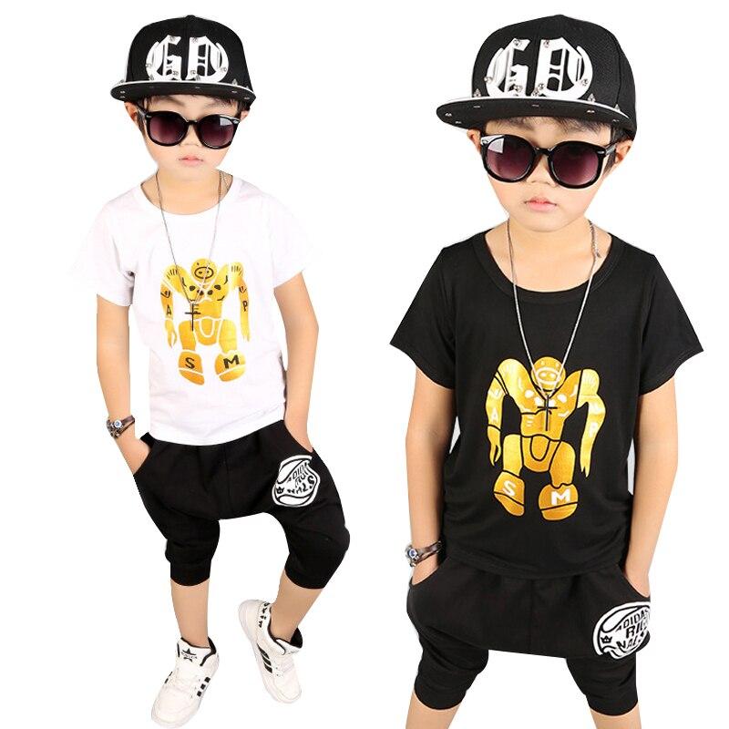 Fashion 4-10Y Boys Clothing set Enfant tshirt+harem pant robot print Cool Kids Hip Hop Clothing Sports Suit children tracksuits