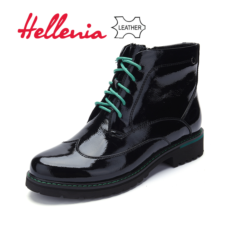 Hellenia Genuine Leather Half Knee Boots Black Autumn Winter Boot For Women Handmade Patent Leather Shoes Round Toe Lace-up Shoe