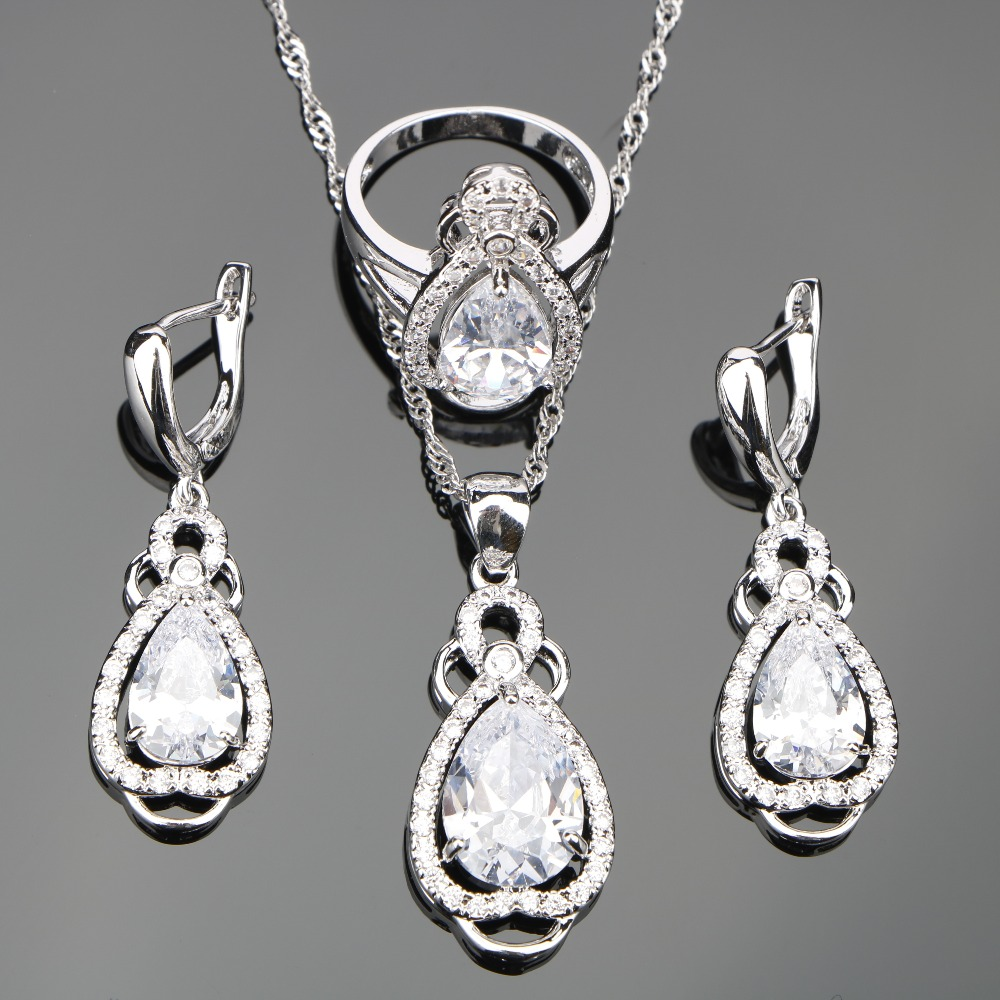 White Zircon Bridal Silver 925 Costume Jewelry Sets Women Set of Earrings Rings Necklace Pendant With Stones Jewelery Gift Box