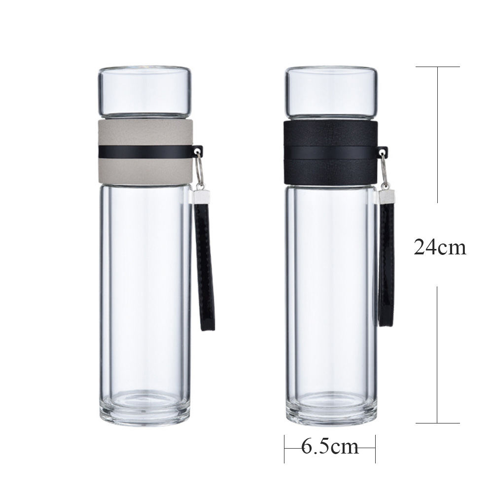 558d66fdb0 400ml Double Wall Borosilicate Glass Water Bottle Tea Infuser Strainer  Portable Leak Proof Chinese Glass Tea Bottle with Filter-in Water Bottles  from Home ...