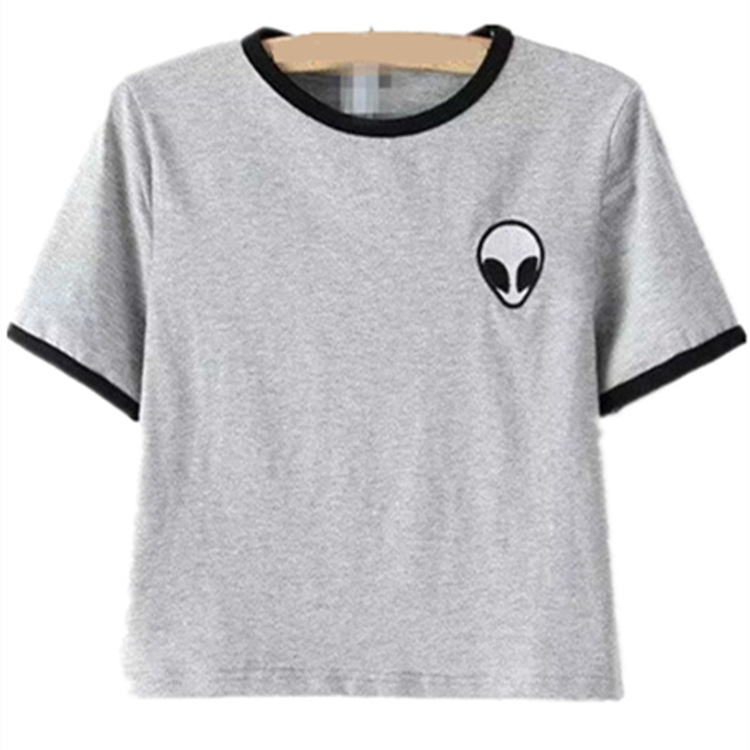 2017 New Fashion Women Loose Print Short Sleeve Tee Shirt Casual Crop Top Alien Printing T-Shirt  9 Colors