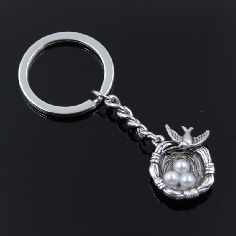 New Fashion Men 30mm Keychain DIY Metal Holder Chain Vintage Swallow Nest Eggs 24x19x8mm Silver Color Pendant Car Keychain Gift