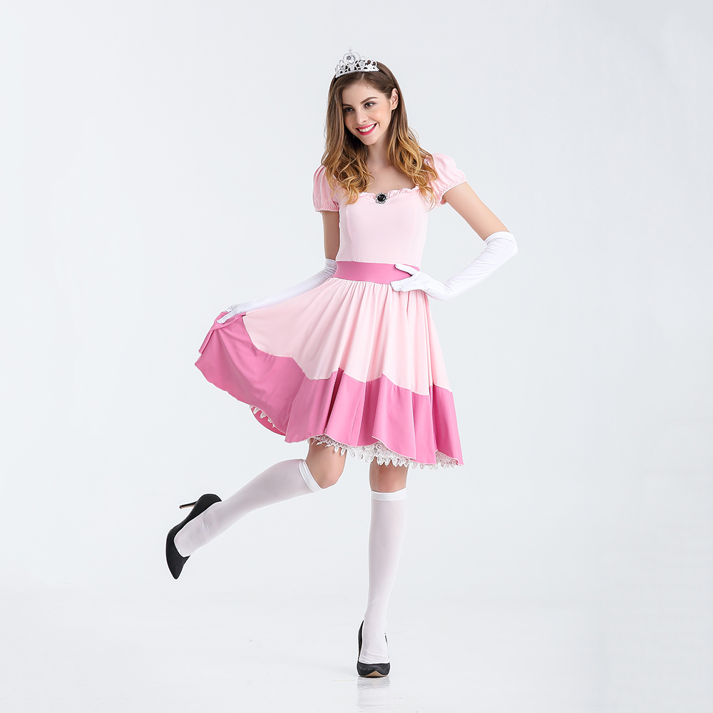 VASHEJIANG Deluxe Adult Princess Peach Costume Wanita Princess Peach Super Mario Bros Parti Kostum Cosplay Kostum Halloween