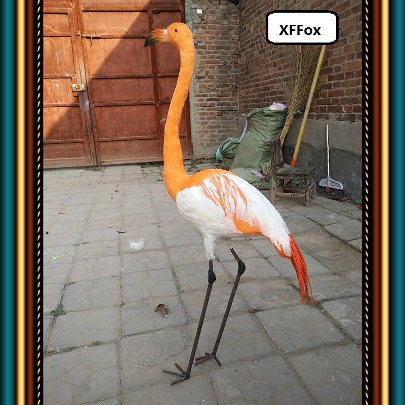 Grande nouvelle simulation modèle flamant rose orange mousse & fourrures longues jambes flamant modèle poupée cadeau environ 110 cm xf1029