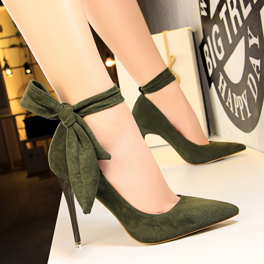 New Shoes Women High Heels Pumps Women Red Shoes Suede Women Wedding Shoes Spring Pointed Ankle Strap Stiletto Women Party Shoes