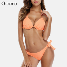 цена на Charmo Women Bikini Set Halter Swimwear Solid Color Swimsuit Side Bandage Bathing Suit  triangle Beachwear Push Up Sexy Bikini