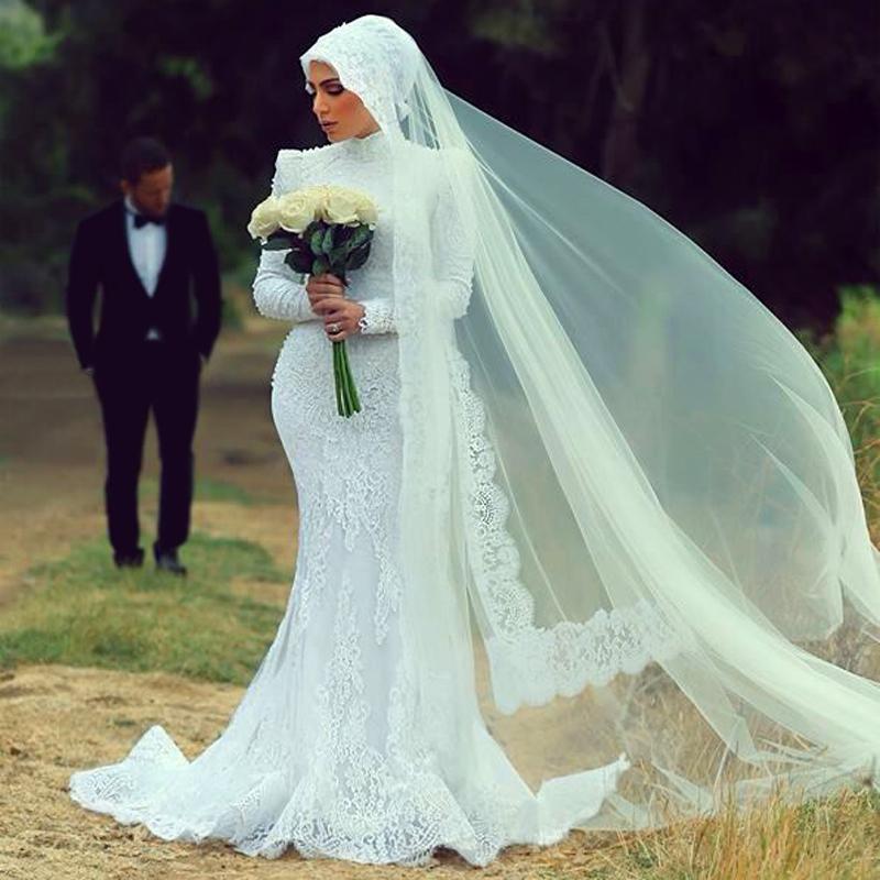Wedding Gown Veil: Long Sleeve Lace Muslims Mermaid Wedding Dresses Hijab