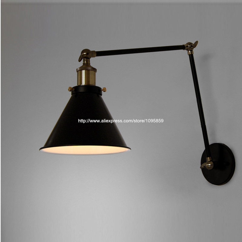 ФОТО Free Shipping Retro Black Fold Arms Metal Wall Lamps Lights Bedroom Wall Fixtures Sconces Lighting