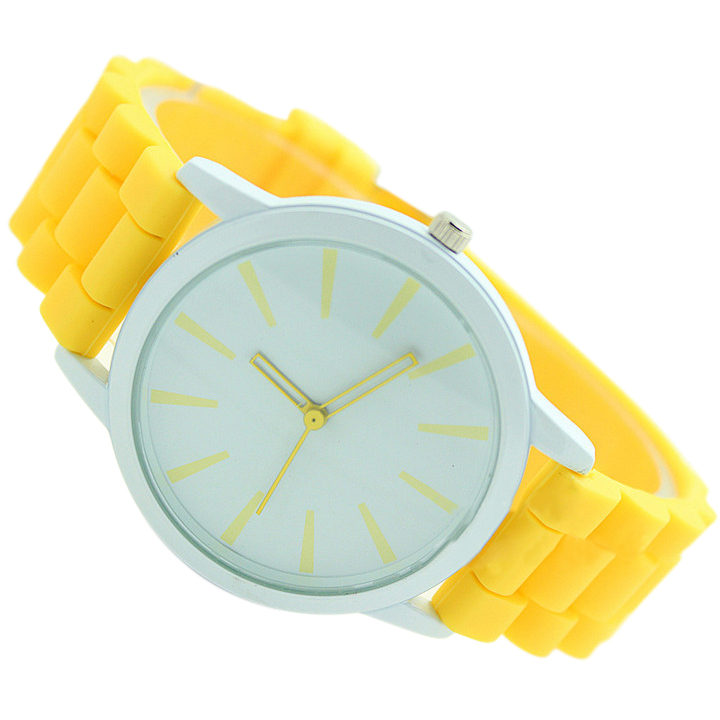 YCYS!Ladies Watch Classic Gel Silicone Jelly Watch (Yellow + White Face)
