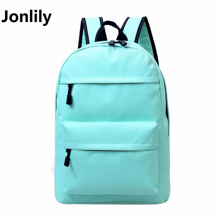 Jonlily Nylon Women Backpack Fashion Shoulder Back Bag Preppy Style Book Backpacks Teenage Girls Casual Travel