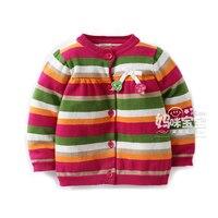 Neue 2016 frühling herbst kinder kleidung infantil pullover für mädchen strickjacke pullover mantel kinder jacken gestreiften Stricken Hemd