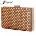 Acrylic diamonds women evening bags metal  day clutch purse hard case bags silver/coffee/black evening bag leather messenger bag