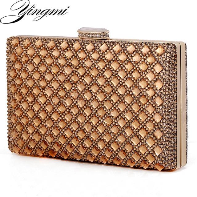 Unique YINGMI Acrylic diamonds women evening bags metal clutch purse hard  NP02