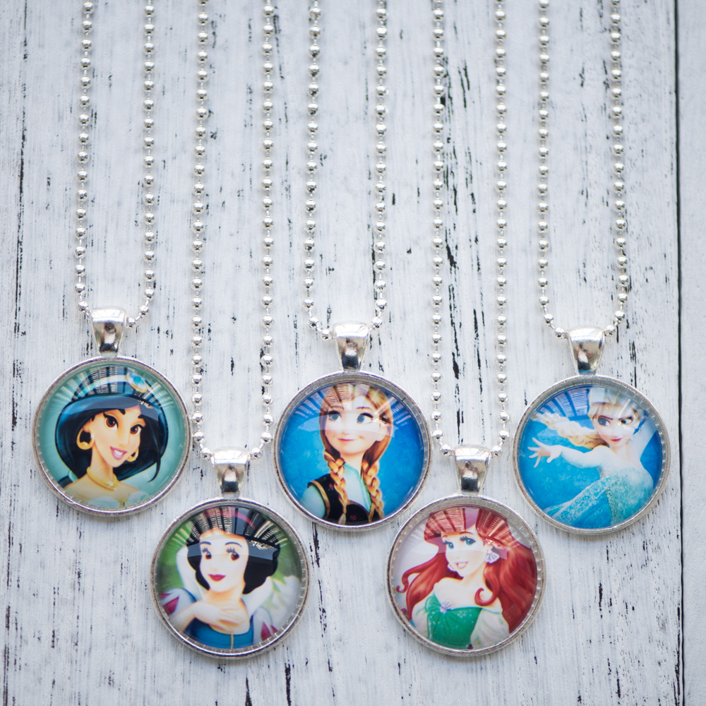 Glass Cabochon Necklace Girls Princess Elsa Anna Snow White Ariel The little Mermaid Pendant Necklace Handmade Gifts 10pcs/lot