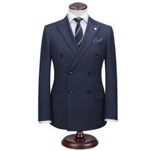 Bespoke Mens Pinstripe Wool Suit Custom Made Navy Blue Mens Striped Wedding SuitsTailored Single Breasted Pin Stripe Men Suit