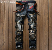 European American Style Famous Brand Mens Jeans Luxury Men S Denim Trousers Slim Straight Patchwork Blue