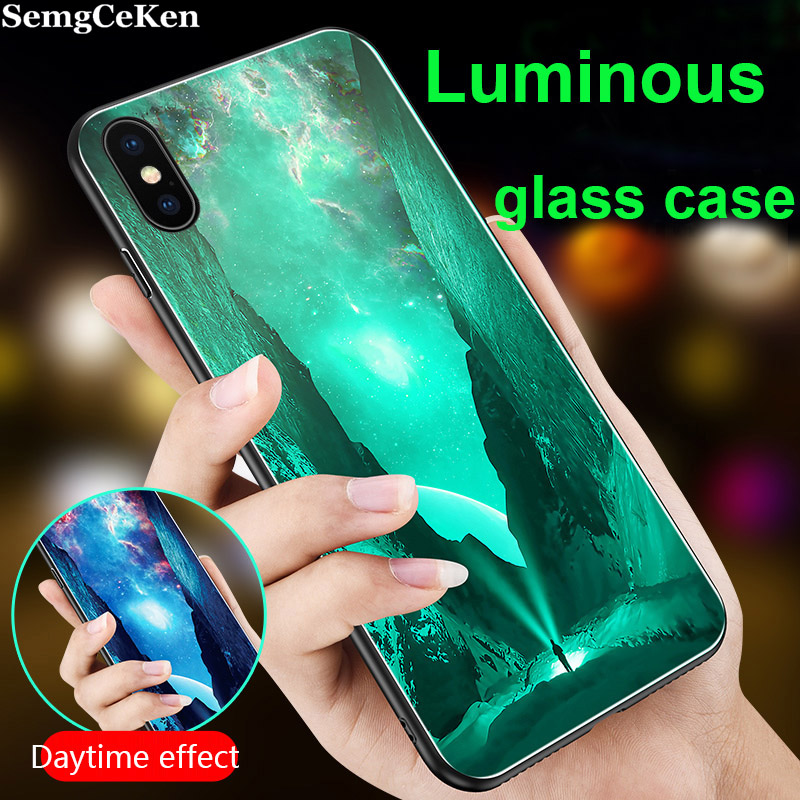 SemgCeKen <font><b>Luminous</b></font> Tempered glass <font><b>case</b></font> for <font><b>iphone</b></font> 5 5s se <font><b>6</b></font> 6s s 7 8 plus x xs max xr luxury original phone hard back cover etui image