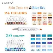 TOQUE novo 24/20 Cores tom De Pele Álcool Marcadores Caneta Para Desenho Do Retrato Esboço Conjunto Marcador Azul animação Cor azul mar