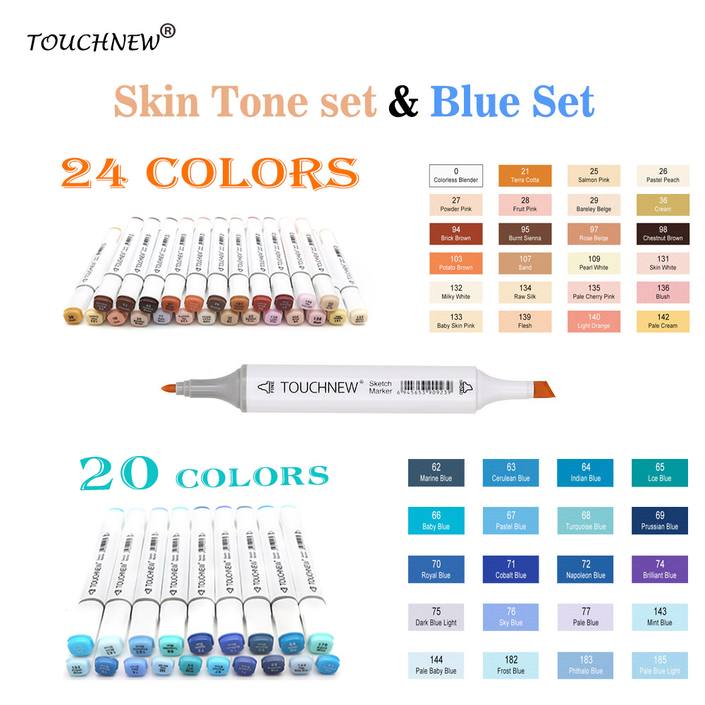 TOUCHNEW 24/20Colors Skin Tone Marker Blue Set Sketch Alcohol Markers Pen For Drawing Portrait Animation Blue Color Sea