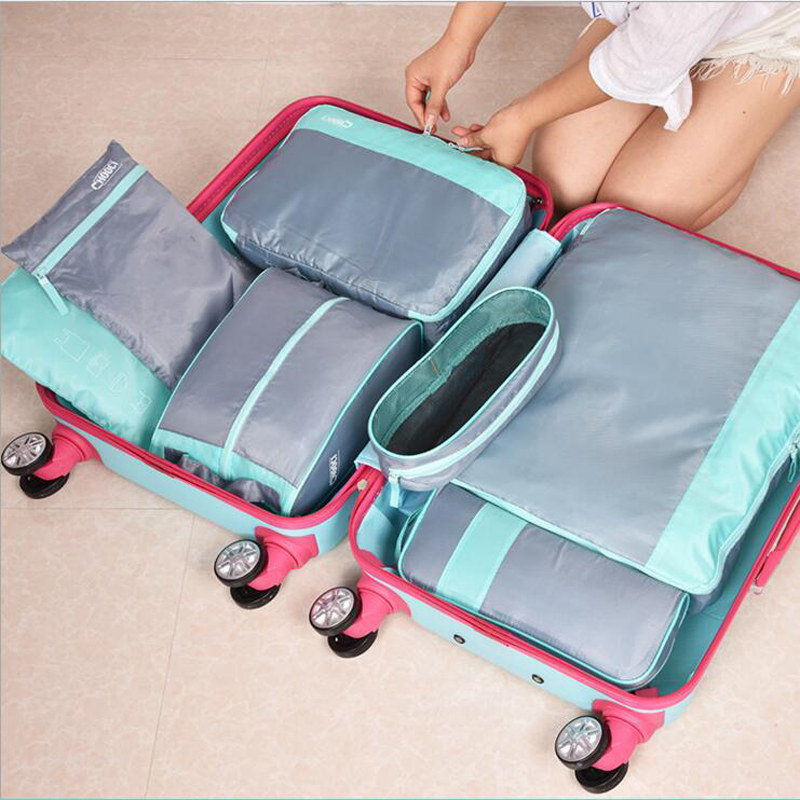 High Quality 7 Pieces Nylon Packing Organize Travel Bag One Set Luggage Storage Portable Durable Unisex Clothes Sorting Cube Bag