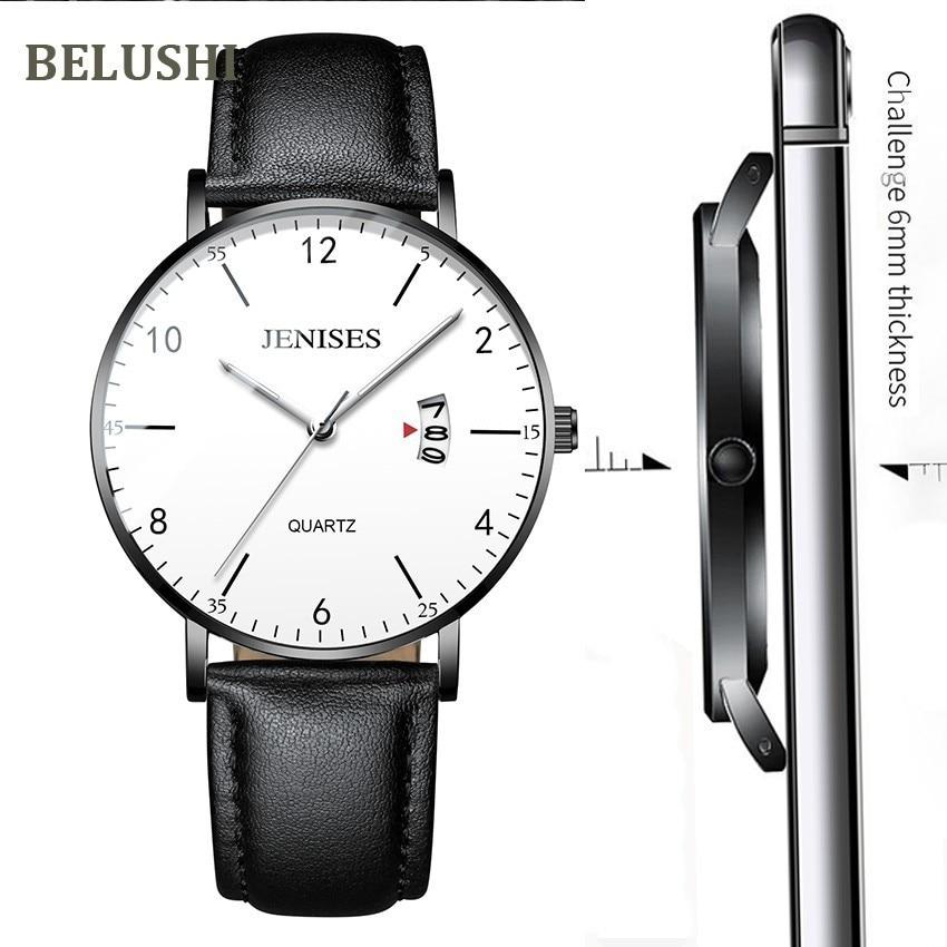 Belushi Men's Watches Top Luxury Business Casual Wrist Watch Men Waterproof Sports Quartz Men's Watches Thin Relogio Masculino