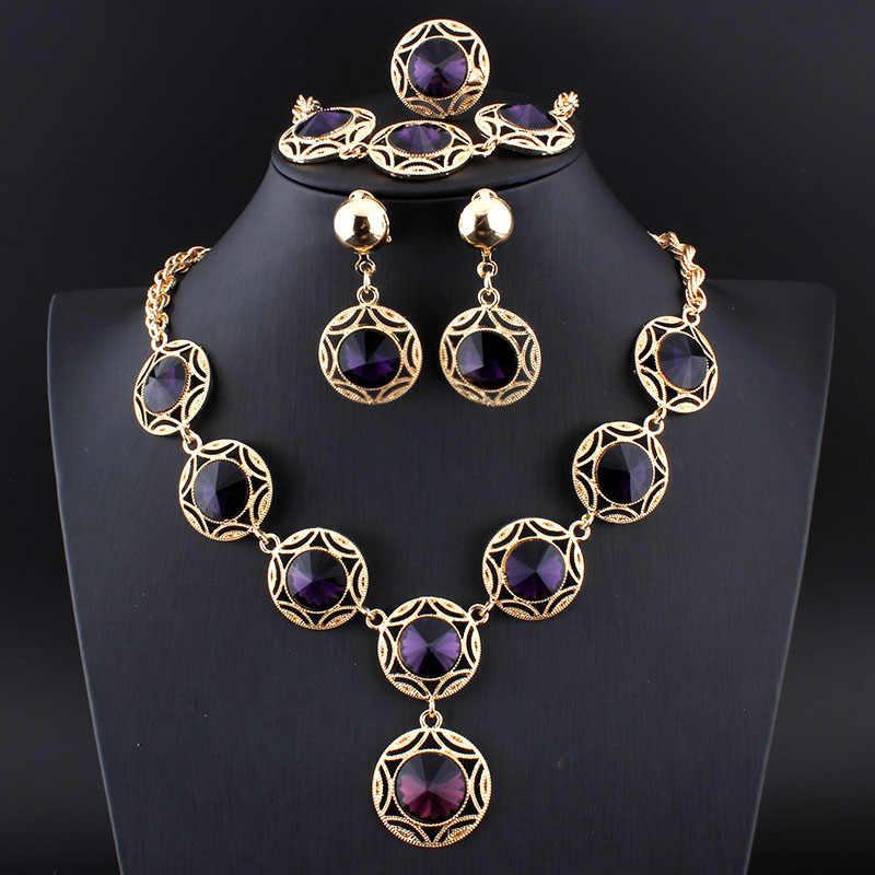 Jiayijiaduo Türkische blau hochzeit schmuck-set Kristall Halskette Ohrringe Armband Ringe für frauen Bankett Schmuck Gold farbe 17