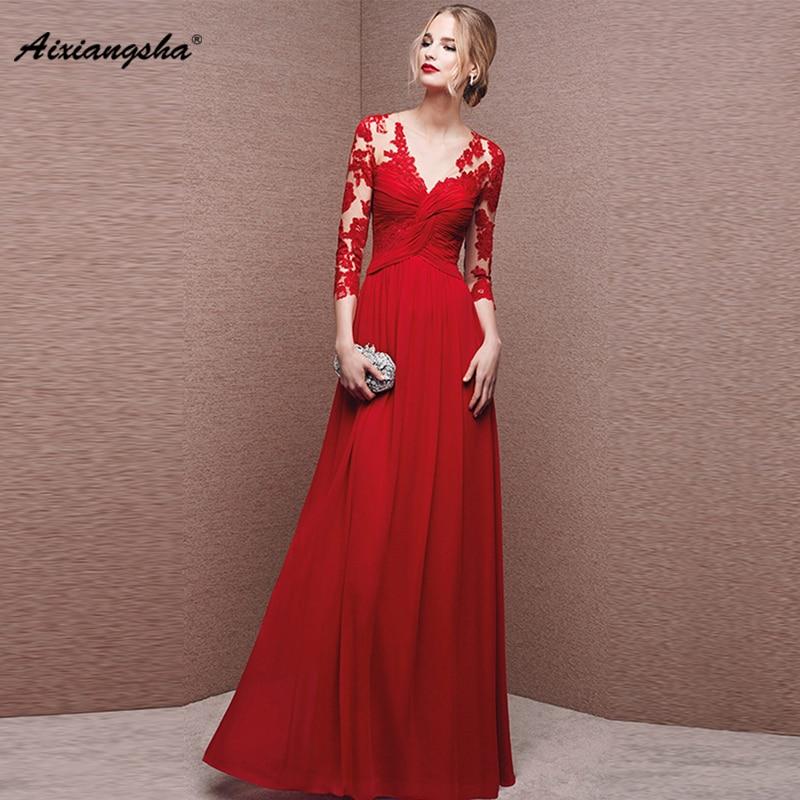 81147a36844b0c Beste Koop Lange Avondjurken 2018 Sexy Rode V hals Plus Size Elegante robe  Party Gown A lijn Kant Applicaties Plus Size vestido de festa Goedkoop