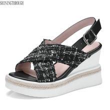4867279f9 2018 Nova Grade pano de couro Das Sandálias Das Mulheres Sapatos de mulher  Cunhas Flatform Inferior