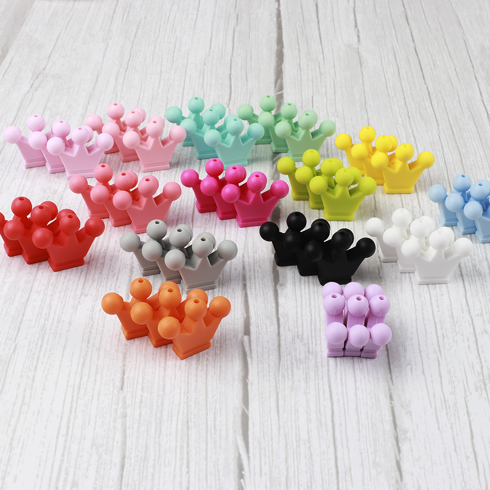 5PC Crown Silicone Loose Beads for DIY Baby Teether Pacifier Chain Bracelet