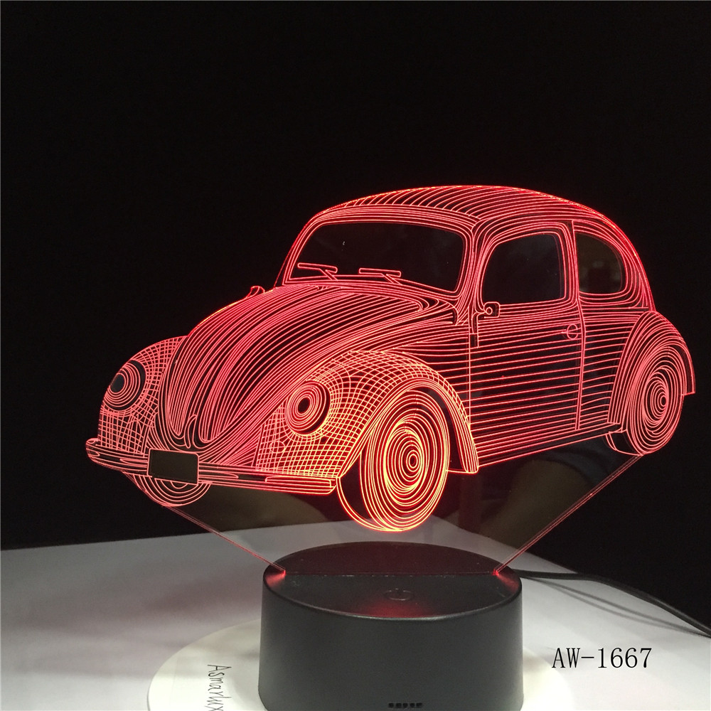 3D-1667 Led 7 Colors Changing 3D Beetle Car Modeling Desk Lamp Illusion Nightlight Vehicle Usb Touch Light Fixture Bedside Decor