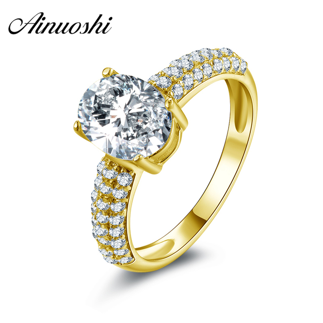 AINUOSHI 10k Solid Yellow Gold Wedding Ring 2 Carat Oval Cut Bridal Jewelry Lovers Promise Wedding Engagement Bridal Band Rings