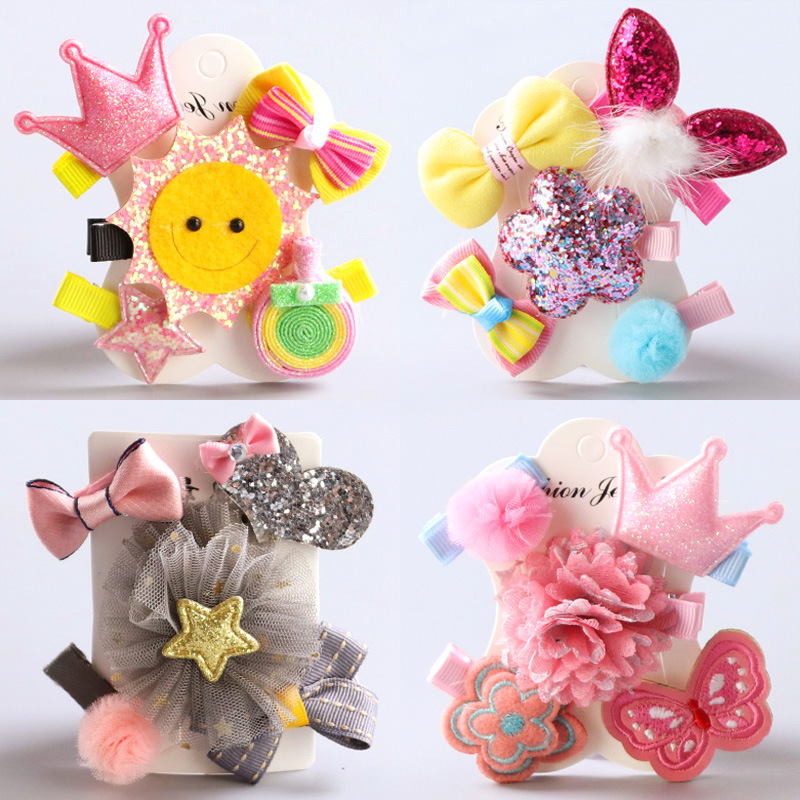 Fashion Hairpin Set 5pcs New Lovely Bows Hair Clips Kids Birthday Gift Flowers Headwear  ...