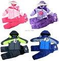 Frete grátis crianças crianças / bebê / meninas snowsuit, Crianças terno de esqui, Crianças jaqueta à prova de vento, Calças à prova de vento ( MOQ : 1 conjunto )
